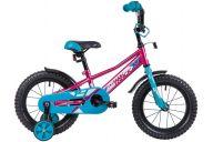 """Детский велосипед  NOVATRACK 14"""", VALIANT, фуксия, полная защита цепи,тормоз нож, короткие крылья, нет багажн"""